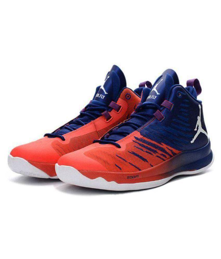 776641dc4c3 Nike Nike Jordan Super Fly 5 Blue Orange Midankle Male Blue  Buy Online at Best  Price on Snapdeal
