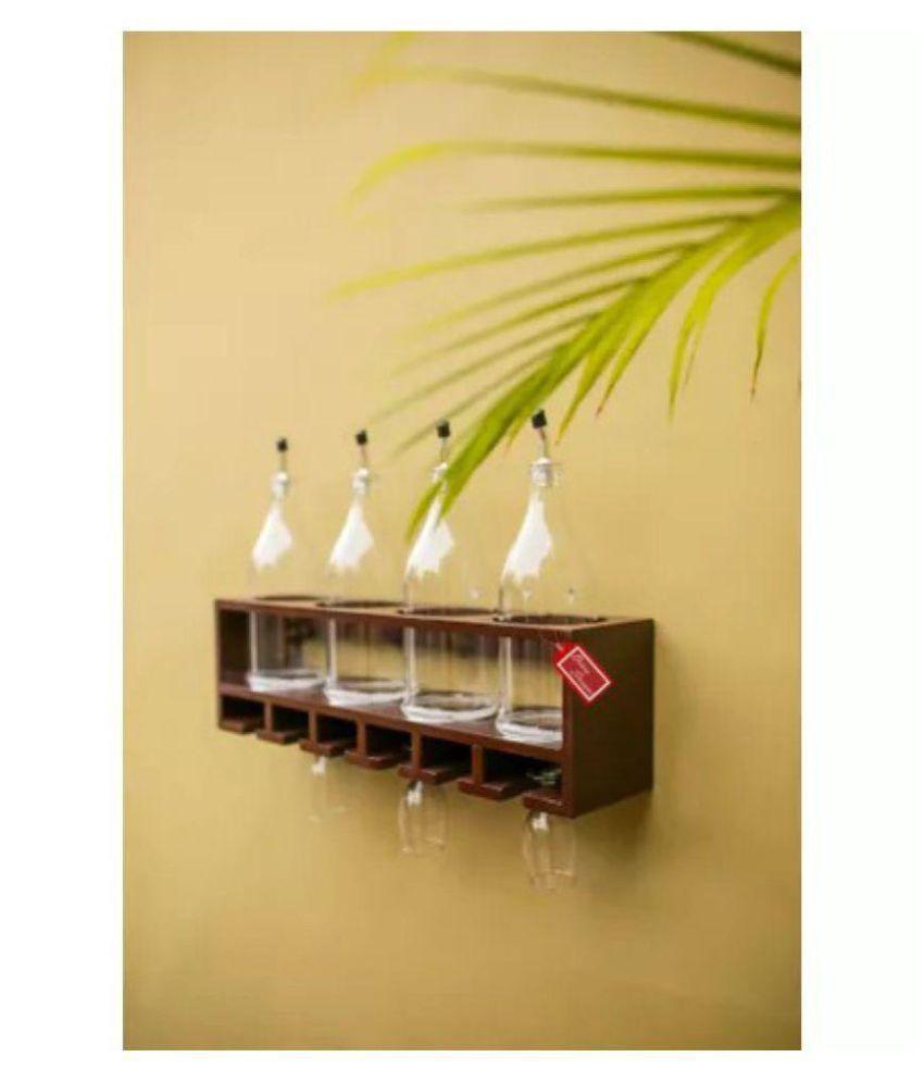 Onlineshoppee Unique Wooden Bottle Rack (Brown, 4 Bottles Holder )