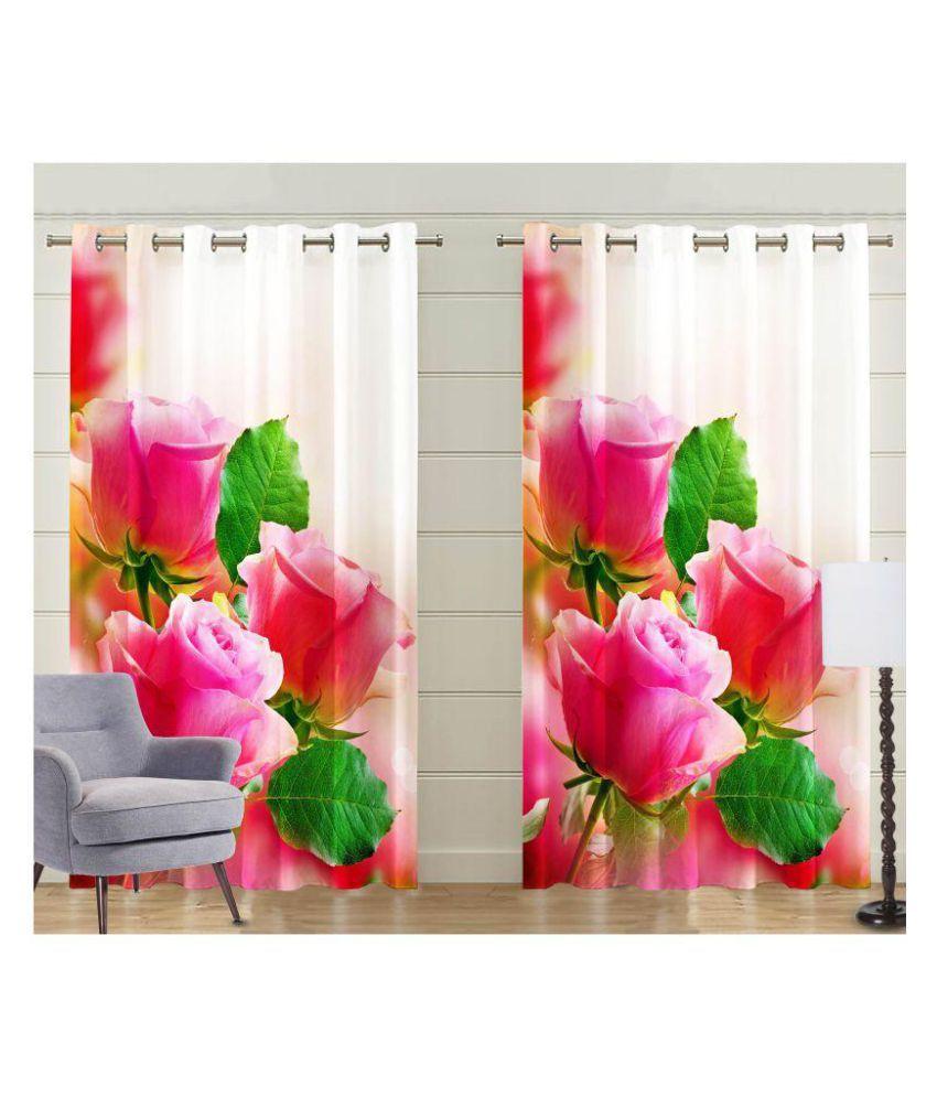Deserve Set of 2 Long Door Blackout Room Darkening Eyelet Polyester Curtains Multi Color