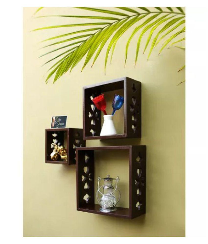 Onlineshoppee Square Nesting MDF Wall Shelf - Brown
