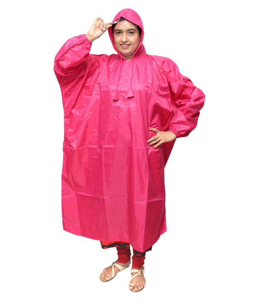 Goodluck Nylon Long Raincoat - Pink