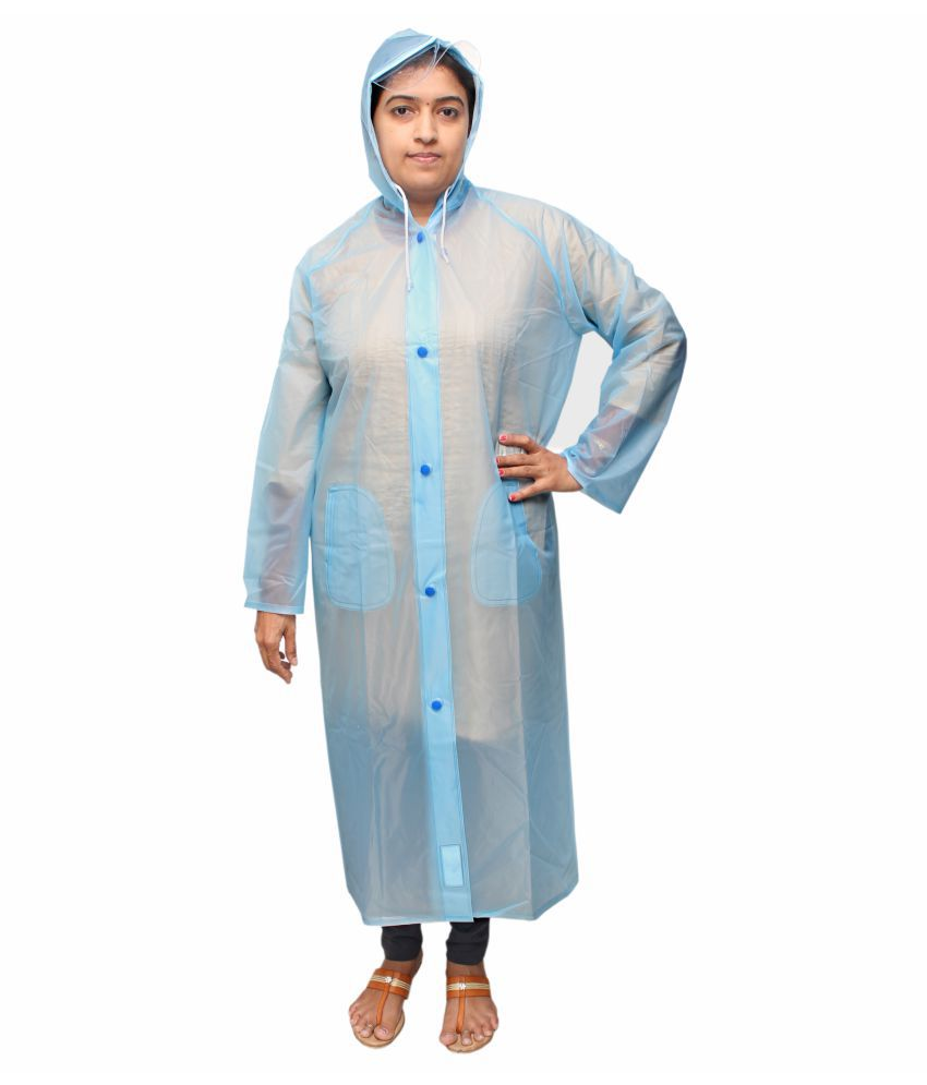 Goodluck PVC Long Raincoat - Blue