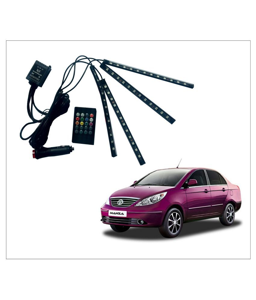 Trigcars  Tata Manza Car LED Atmosphere Light, Multicoloured Music Control Car Interior Lights, Waterproof kit with sound Active Function and Remote Control (DC12V Power Adaptor incl) Free Car Bluetooth