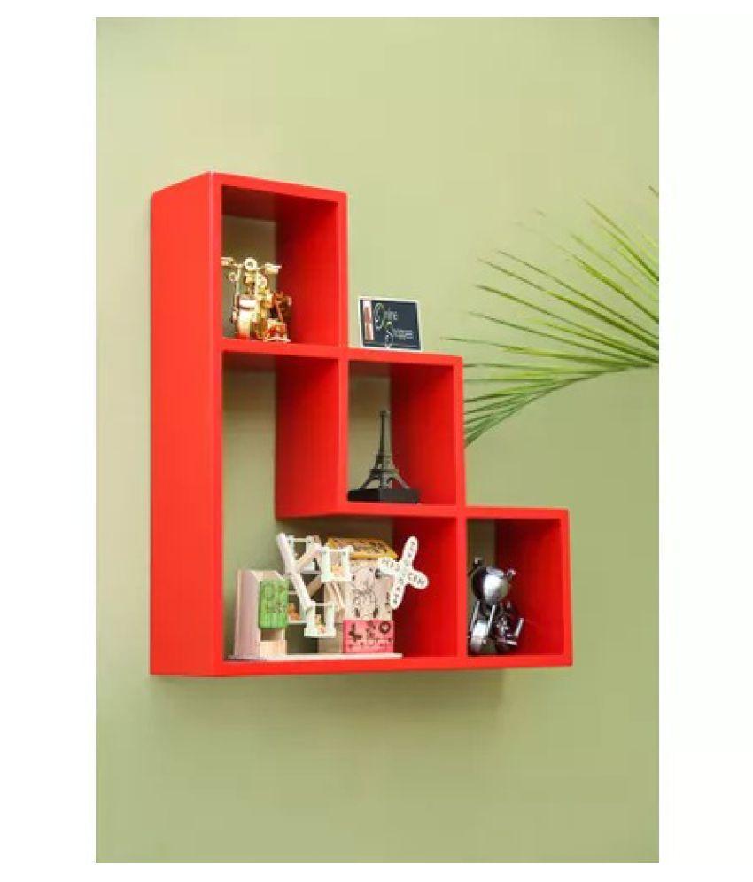 Onlineshoppee Wooden Handicraft Red Designer L Shape Wooden Wall Shelf