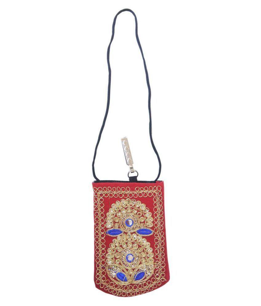 Shinde patil exports Red Woven Sling Bag