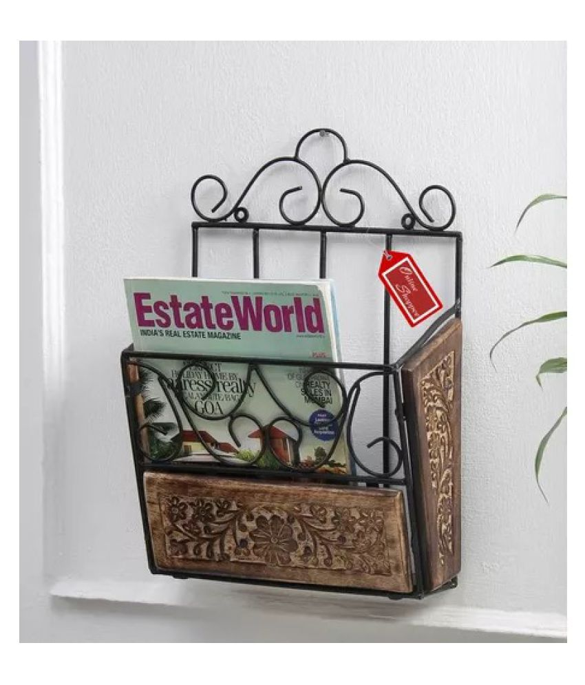 Onlineshoppee Wooden & Iron Magazine Holder With Handcarving Work