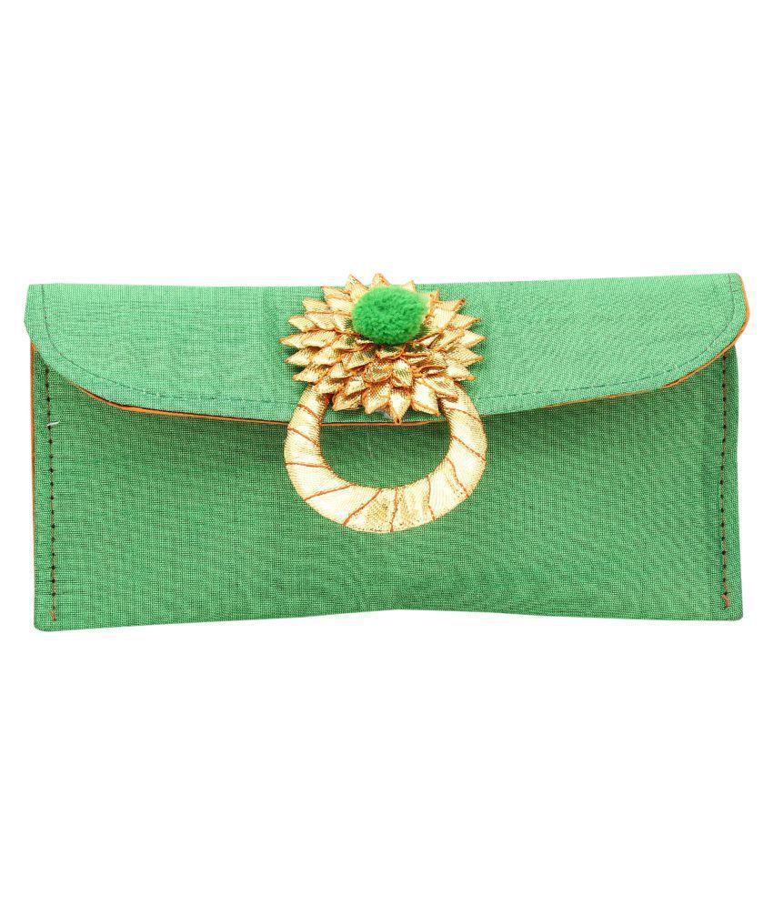 Inner Beats Green Silk Box Clutch