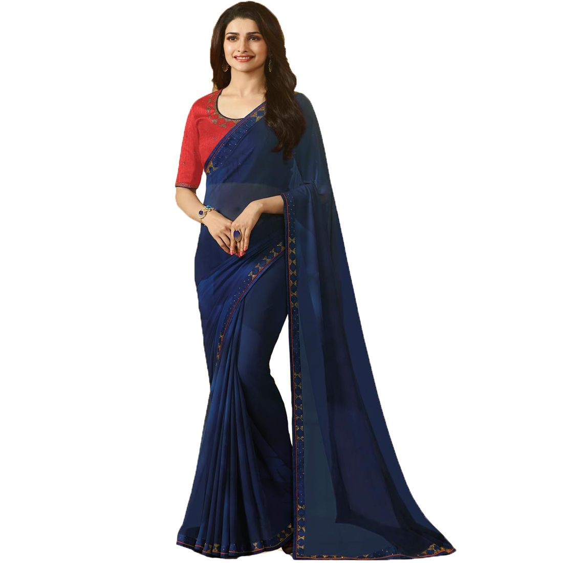 Genius Creation Blue Georgette Saree