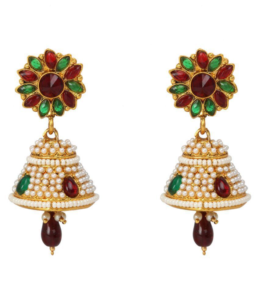 Dancing Girl Bollywood Jhumki Maroon Green Metal Alloy Jhumka Earring for Women Girls