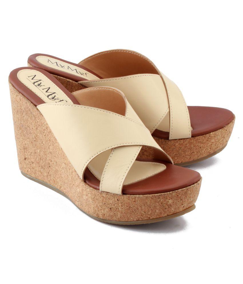 MY MY! Leather Beige Wedges Heels