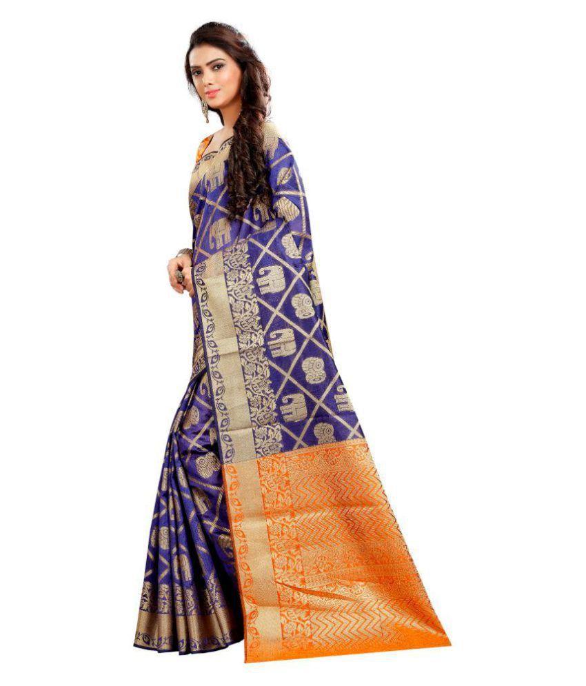 ethnic diwa Orange and Beige Cotton Silk Saree