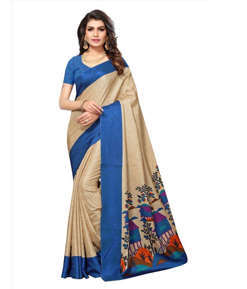 StoreMazza Blue and Beige Manipuri Silk Saree