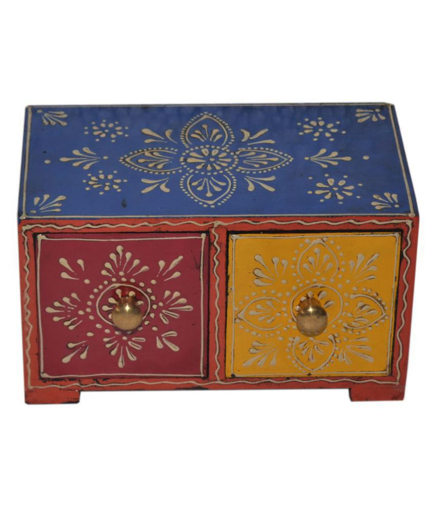 Wooden Multicolor Hand Painted 2 Drawer Box Horizontal