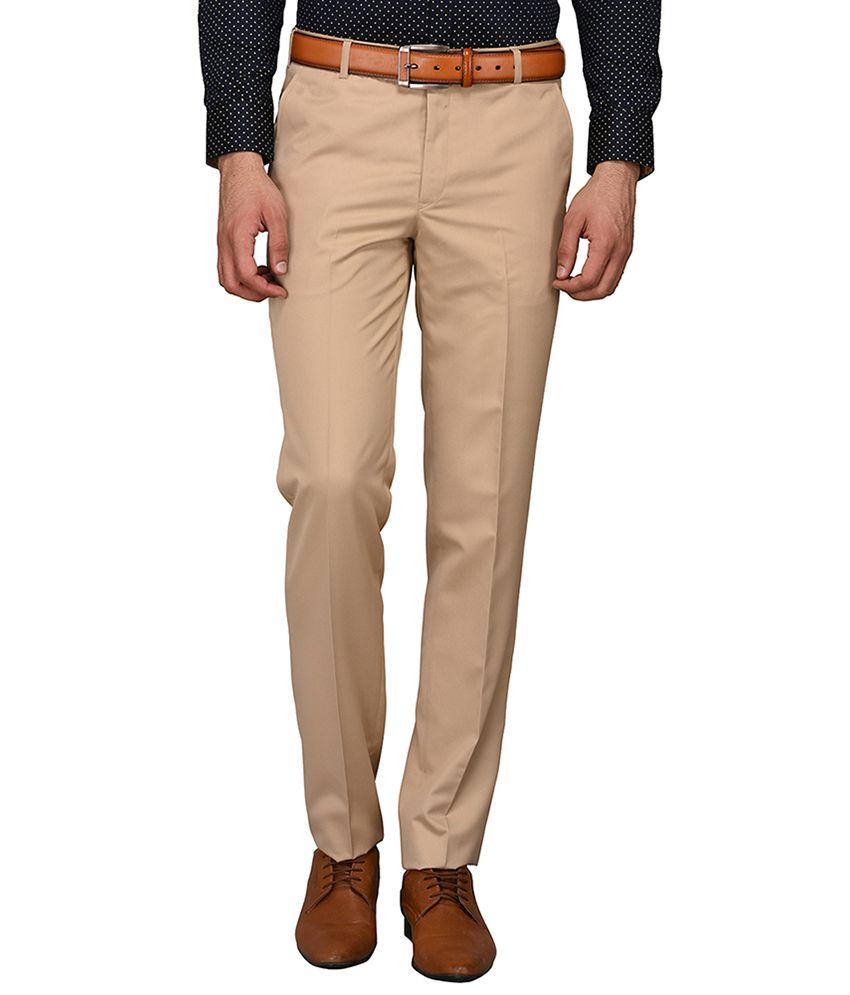 Greenfibre Khaki Slim -Fit Flat Trousers
