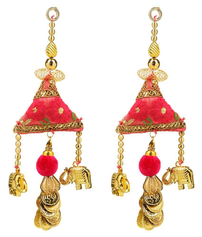 Fabric and Lace Multi Colour Ethnic Hanging Latkans (9 cm x 3 cm x 9 cm, Gold, Pack of 2, L135)