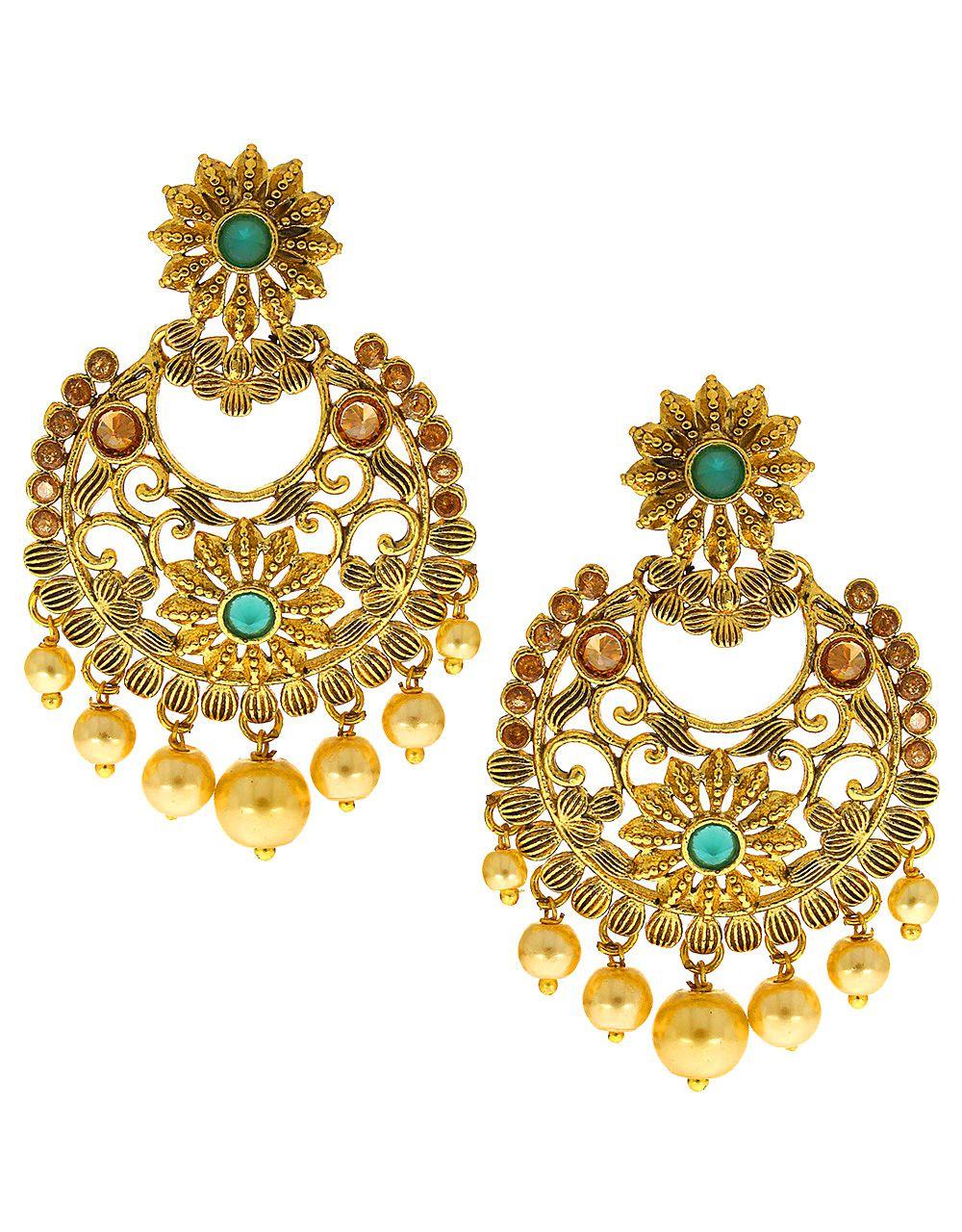 Anuradha Art Golden-Green Tone Chandballi Styled Studded Shimmering Stone Wonderful Traditional Long Earrings For Women/Girls