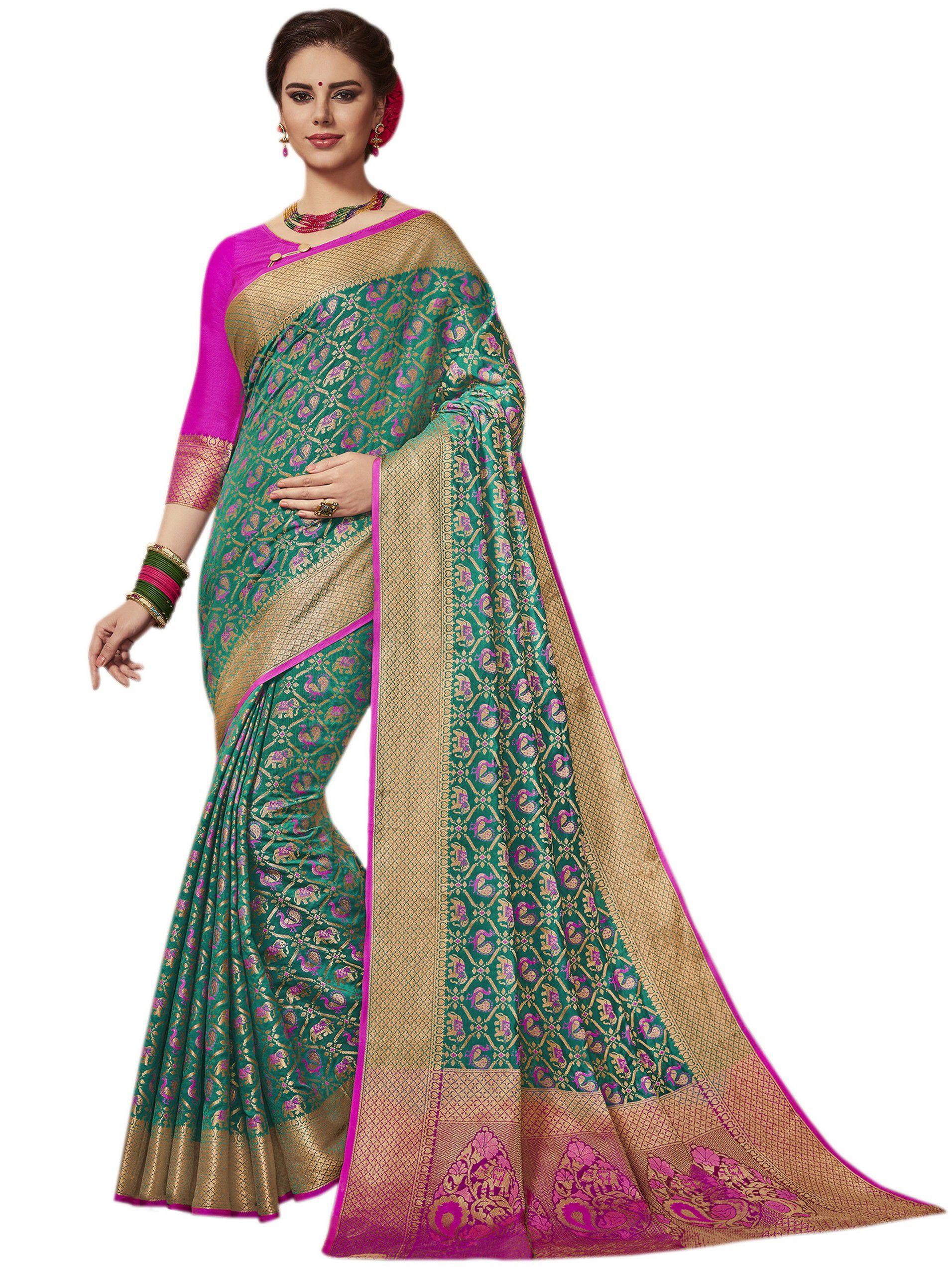 Vastrang Green Silk Saree