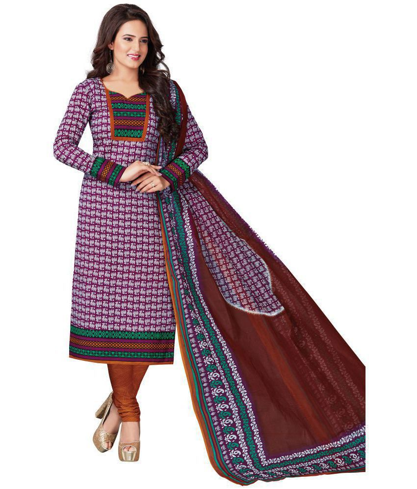 Vinay's Maroon Cotton Dress Material