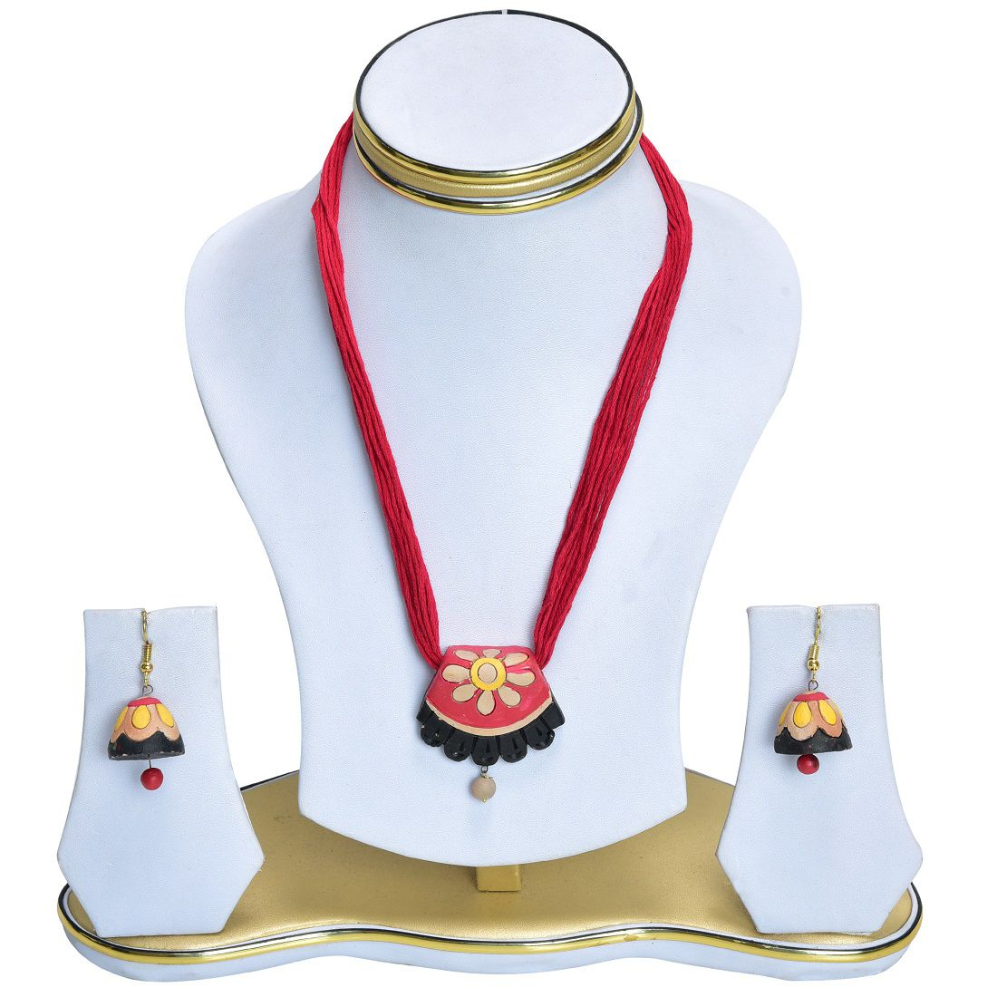 RAI COLLECTION Red Terracotta Strand Necklace Set for Women