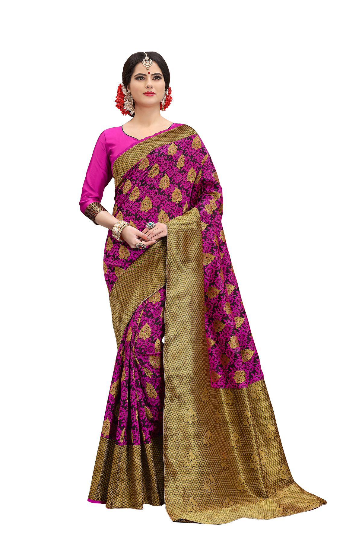 Rekishn Pink Banarasi Silk Saree