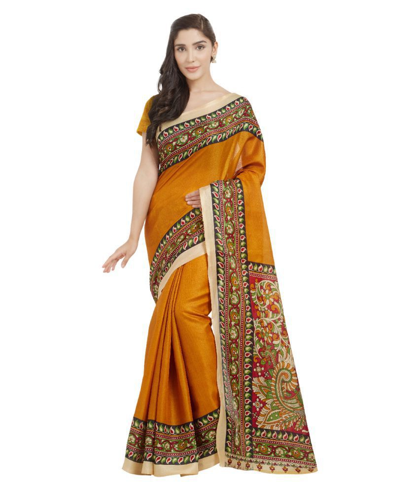 Today Deal Orange Bhagalpuri Silk Saree