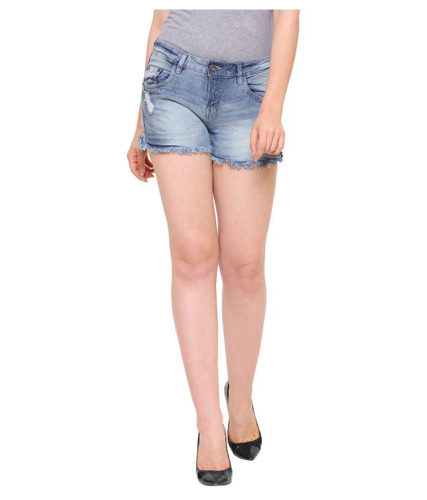 Mansi Collections Denim Hot Pants - Blue