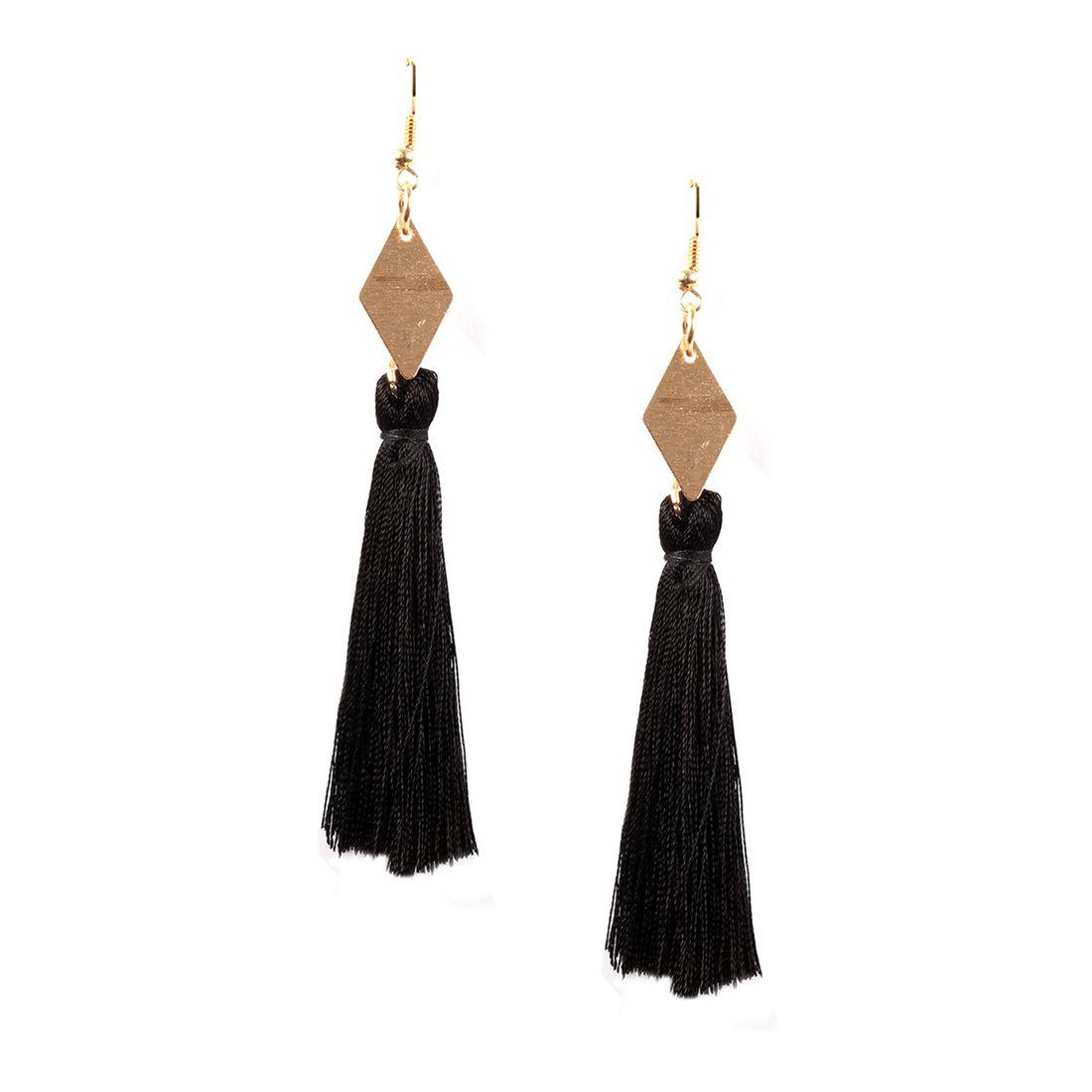 ayesha metallic gold diamond shaped plate with black tassel hanging earrings