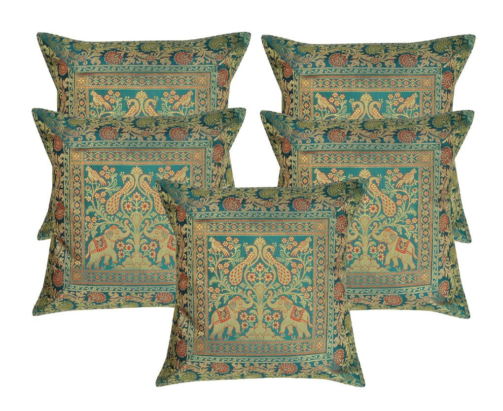 lal Haveli Set of 5 Silk Cushion Covers 40X40 cm (16X16)