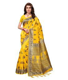 Ishin Yellow and Beige Silk Saree