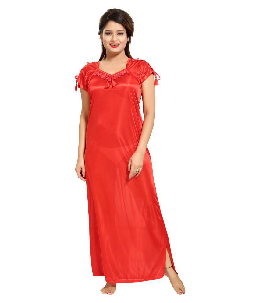 Glam World Satin Nighty & Night Gowns - Red