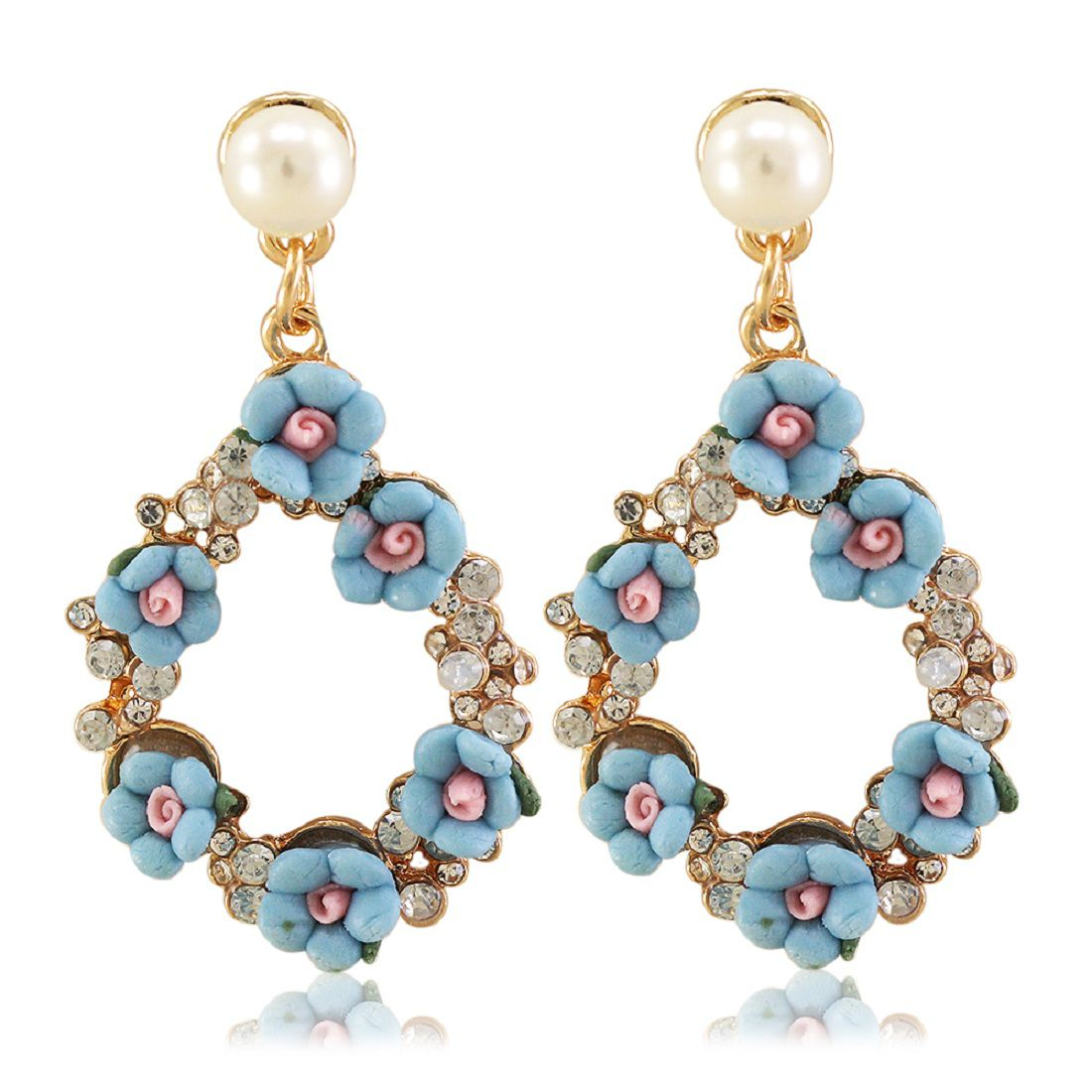 Vorra Fashion Blue Colour Flower Design Earring