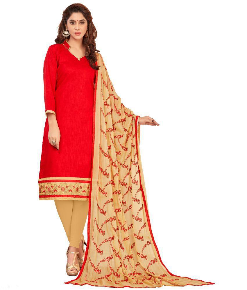 Priyavadhu Red Cotton Poly Dress Material