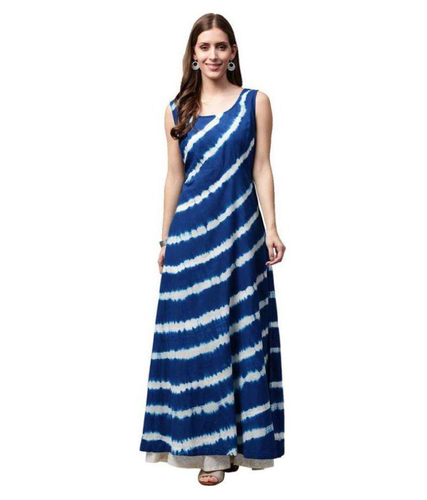 909dbbb9e SBN Blue Cotton A-line Kurti - Buy SBN Blue Cotton A-line Kurti Online at Best  Prices in India on Snapdeal