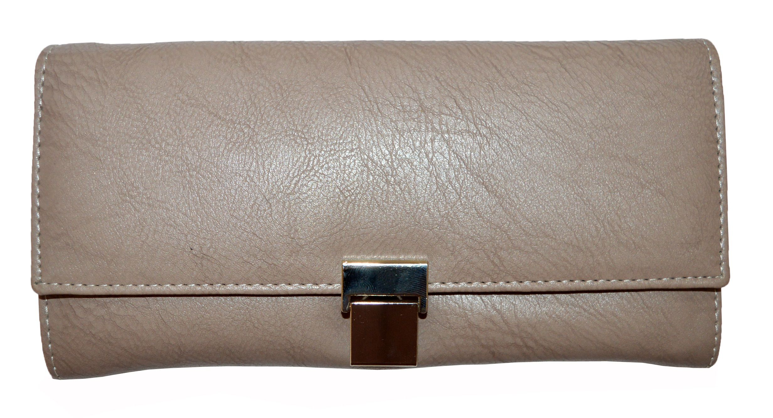 Fashion Fanda Beige Faux Leather Box Clutch