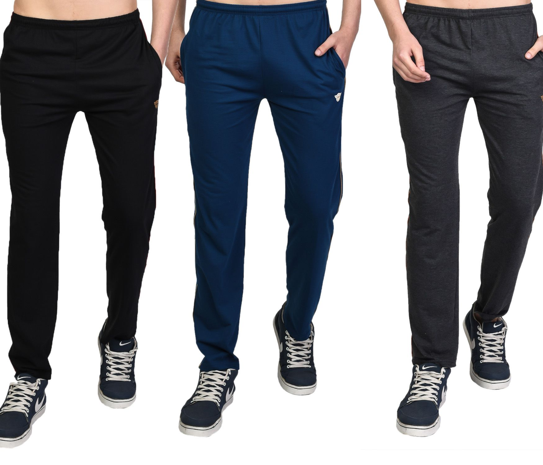 White Moon Multi Cotton Blend Trackpants Pack of 3
