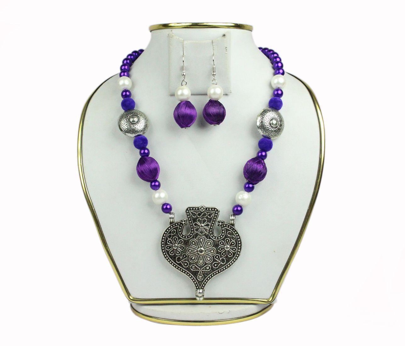 spero Fashion Oxidised or German Silver  Statement Necklace set