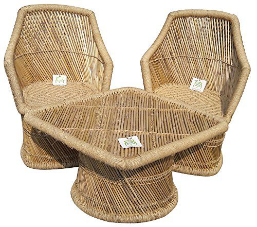 Ecowoodies Bamboo Outdoor Furniture Chair Table Set for  Terrace/Lawn/Outdoor/Garden/Home/Balcony and Living Room