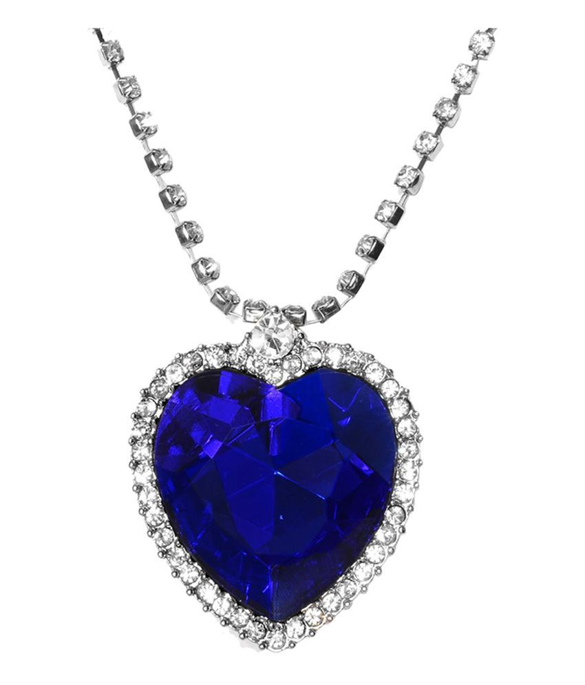 Amour titanic ocean blue heart crystal studded pendant with chain amour titanic ocean blue heart crystal studded pendant with chain amour175 aloadofball Image collections