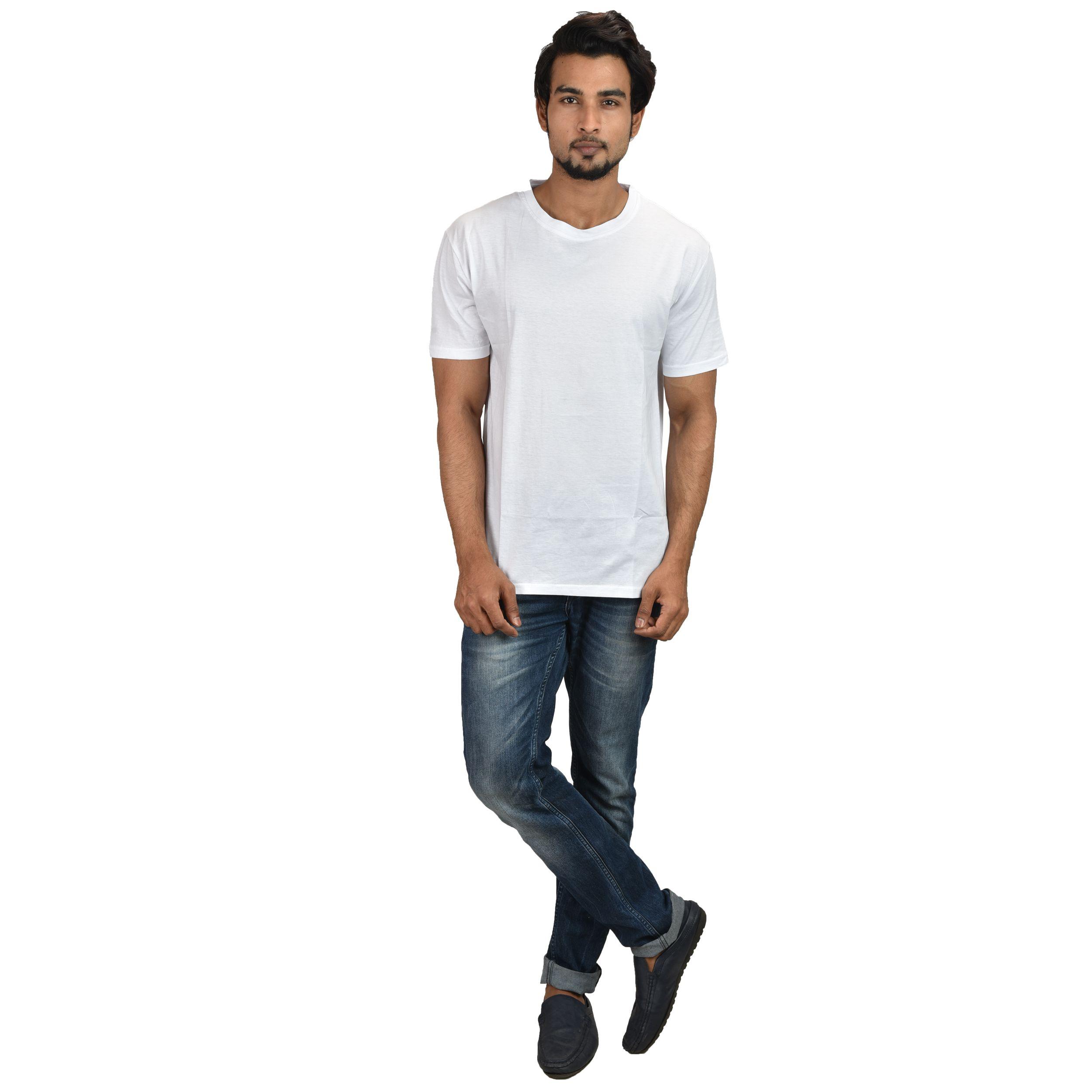 OddFashion White Cotton T-Shirt Single Pack