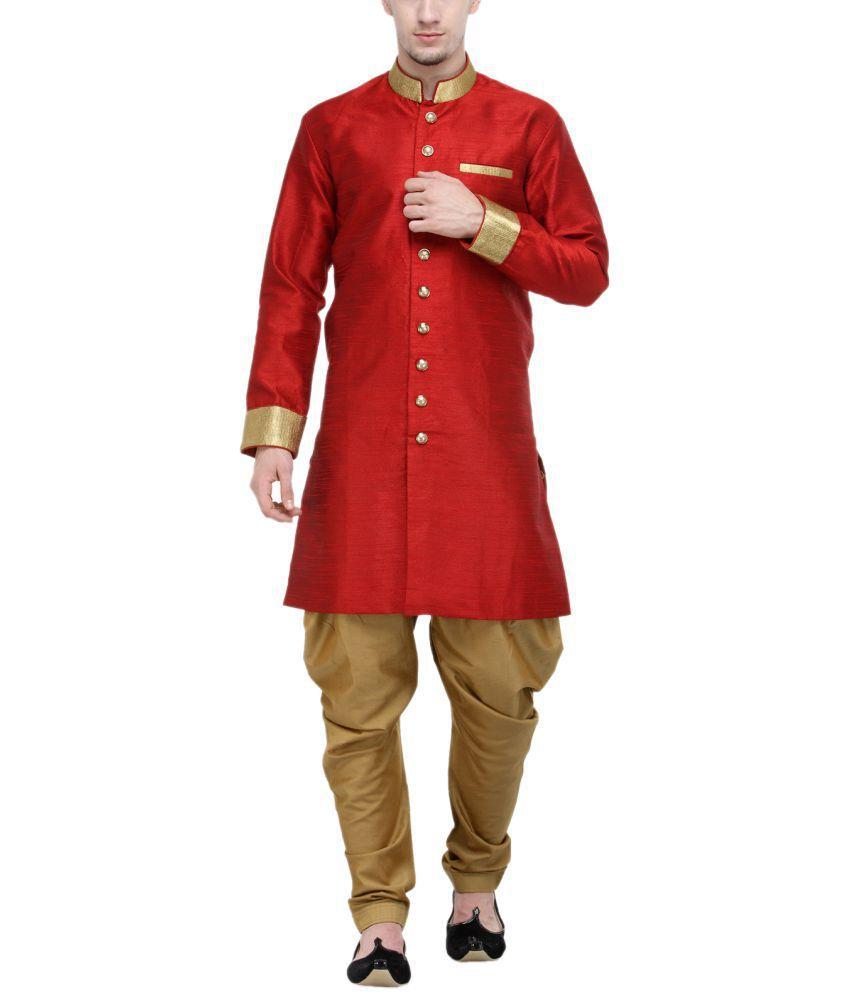 RG Designers Red Silk Blend Sherwani