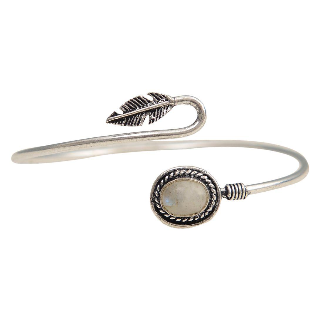 Taj Pearl Designer Silver Oxidized Cuff Bangles