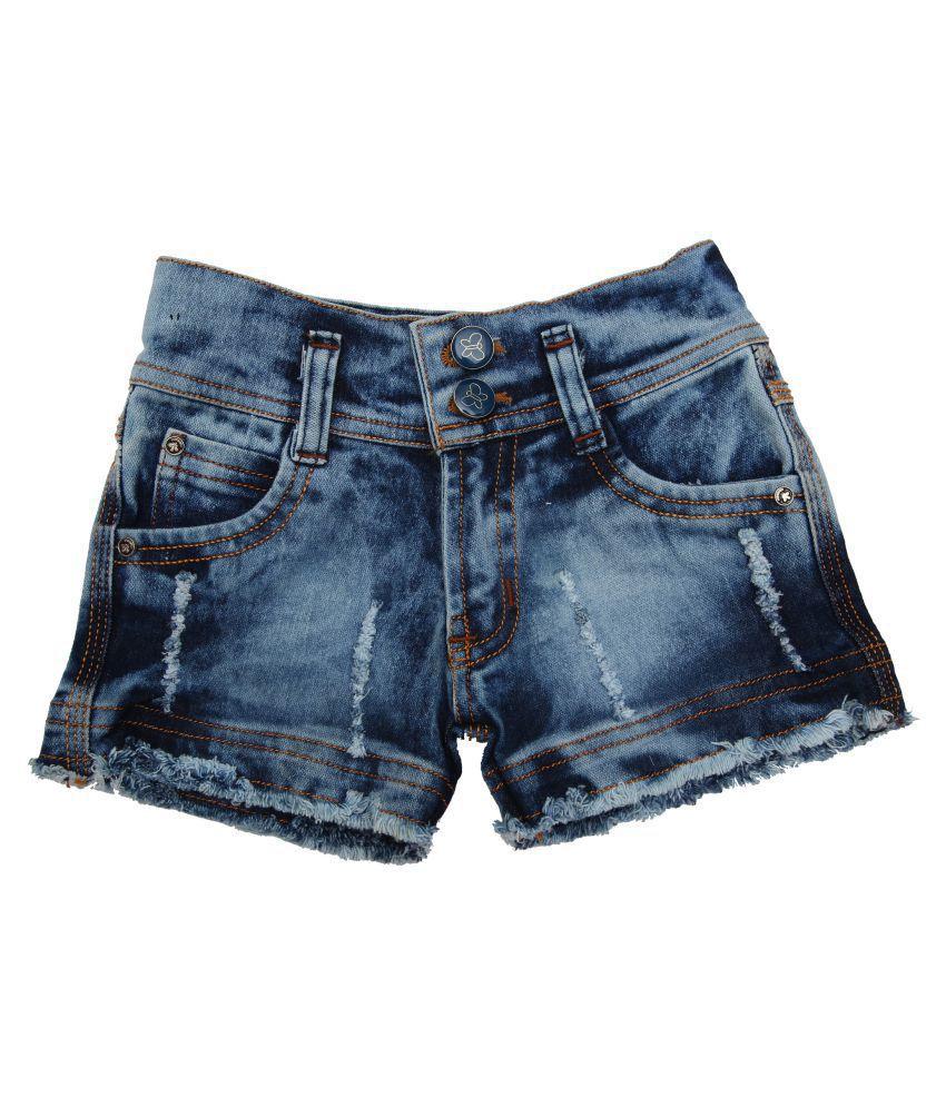 Zadmus Girls Denim HotPant (Blue, 6 - 7 Years)
