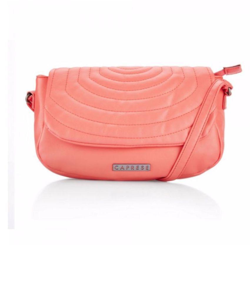 Caprese PeachPuff Faux Leather Sling Bag