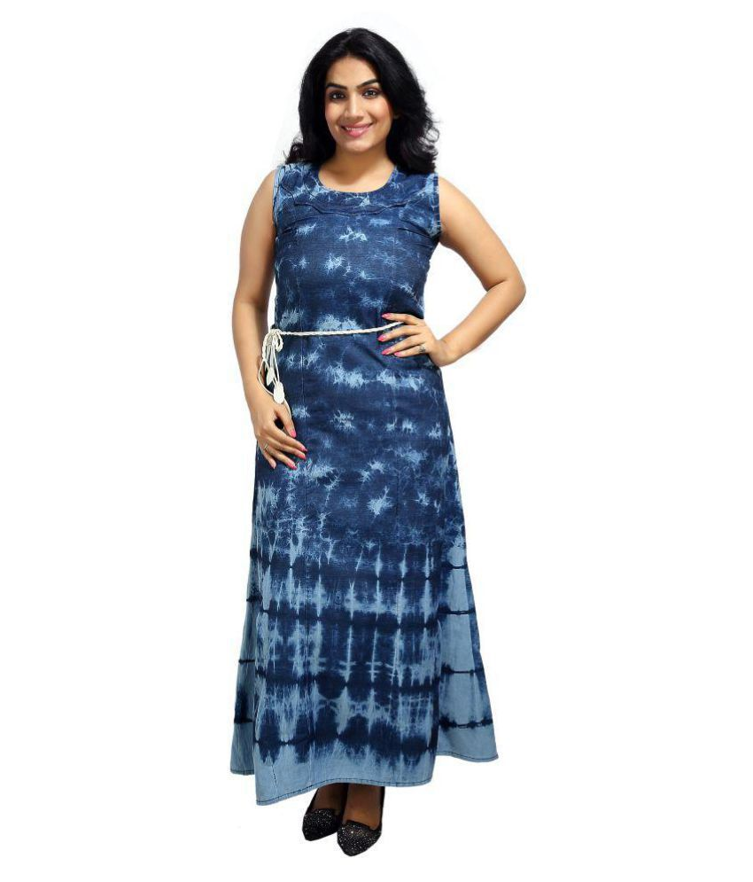 Innovative Blue Denim A-line Kurti
