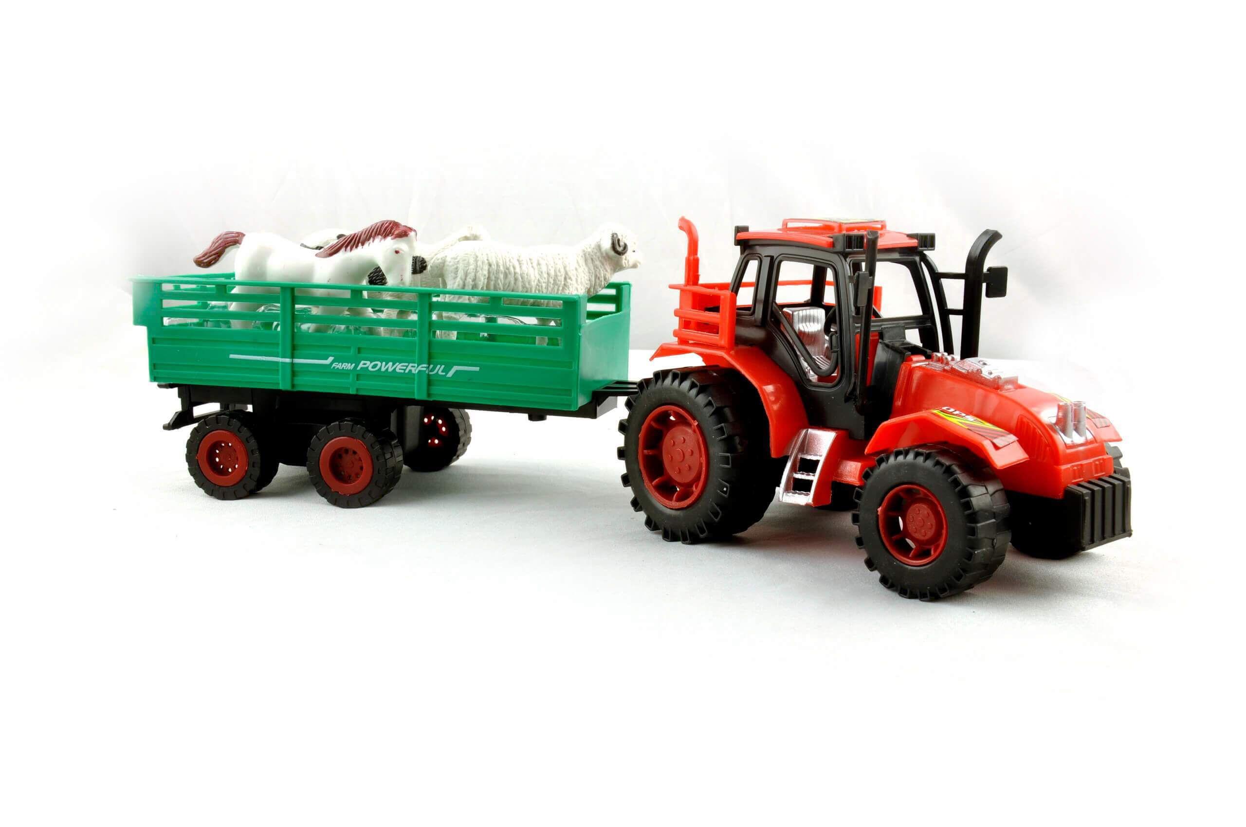 KidzFan™ Farmer Friction Tractor Trolley Toy for Kids