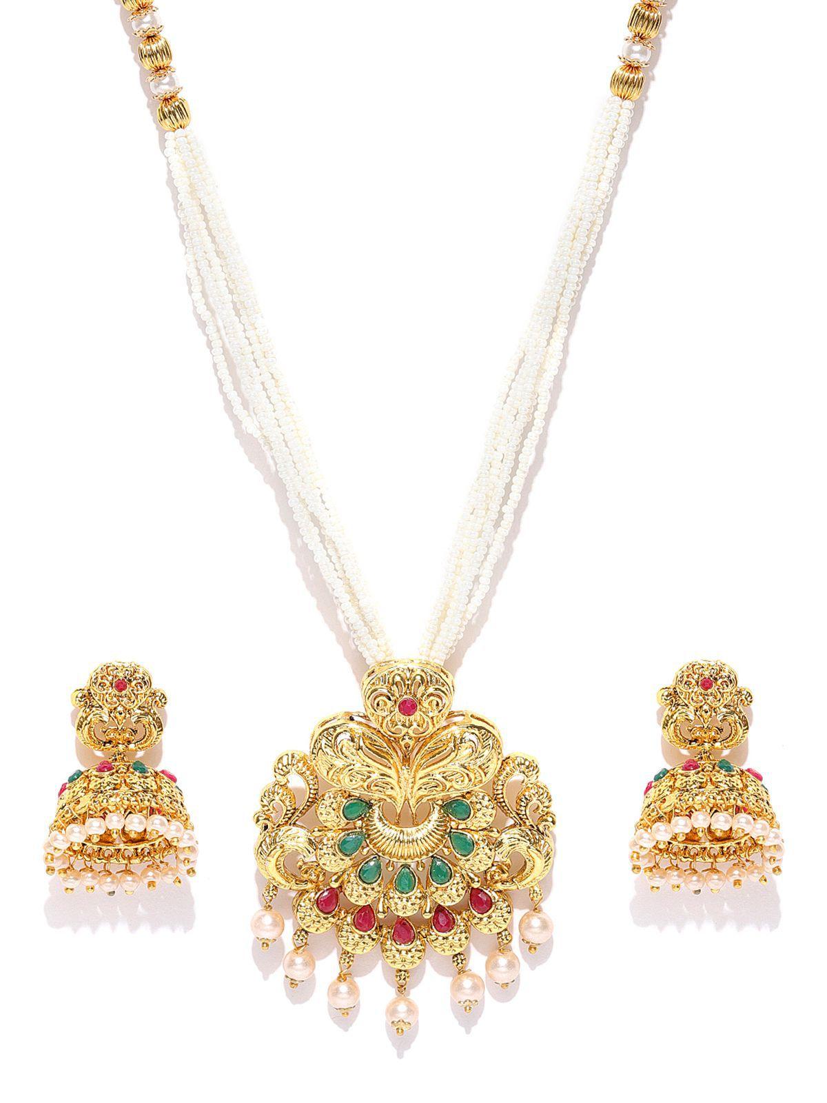 e1eee8589dbdc Zaveri Pearls Gold Tone Traditional Moti Mala Necklace Set-ZPFK7038