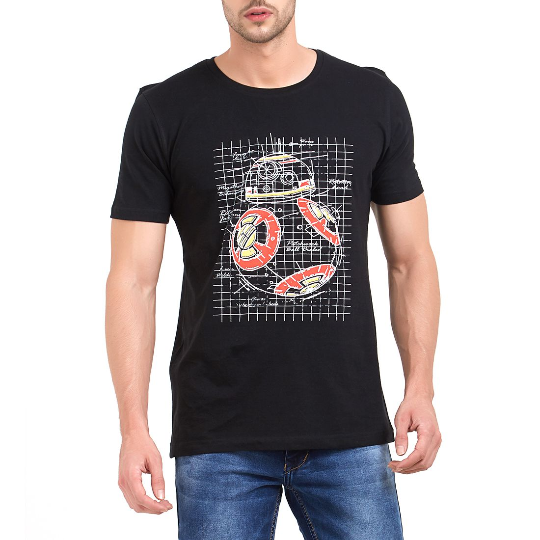 ROAD ROCKERS Black Round T-Shirt Pack of 1