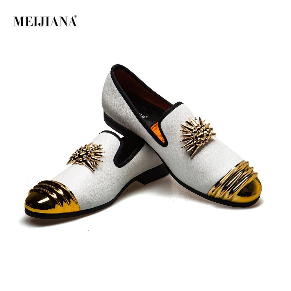 Meijiana Brand Men Luxury Metal Buckle Loafers Shoes Horsehair Round Toe Slip On Dress Shoes Classic Handsome Men Casual Shoes
