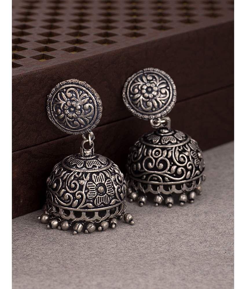Oxidized Silver Plated Designer Jhumki Earrings For Women