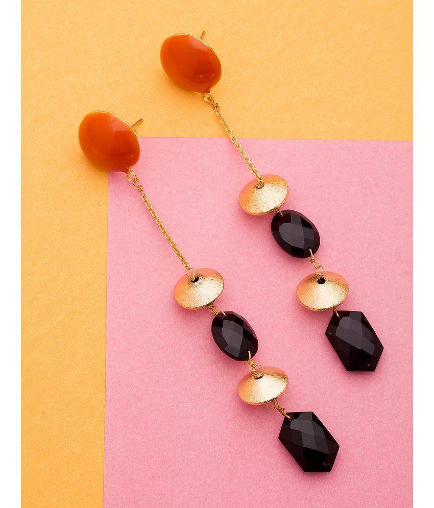 Voylla Chic Dangler Earrings Decked With Black Stones
